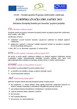 EURÓPSKA ZNAČKA PRE JAZYKY 2013
