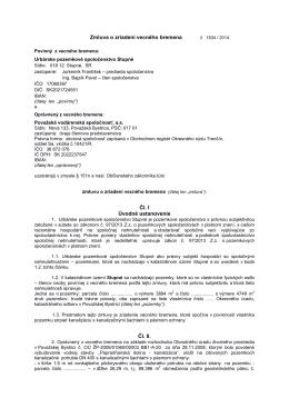 Zmluva o zriadení VB č. 1834/2014