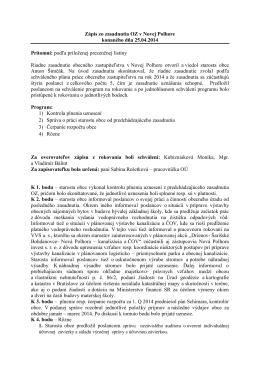 Zápisnica a uznesenia z riadneho zasadnutia