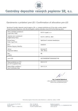 Dokument o pridelení LEI čísla