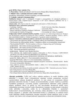 prof. RNDr. Peter Andráš, CSc. 1. Pracovisko: Fakulta