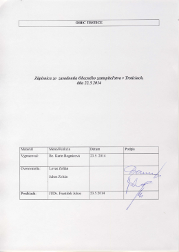 Zdpisnka zo zasa.dnafia Obecndho zastapitetstva v