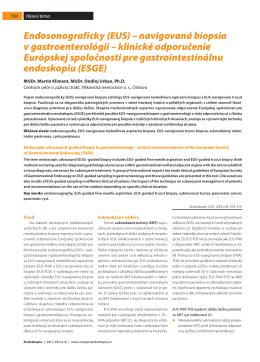 Endosonograficky (EUS) – navigovaná biopsia v
