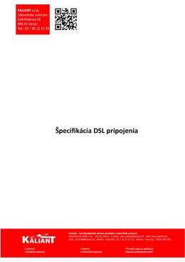 Špecifikácia DSL pripojenia platný k 1.10.2013