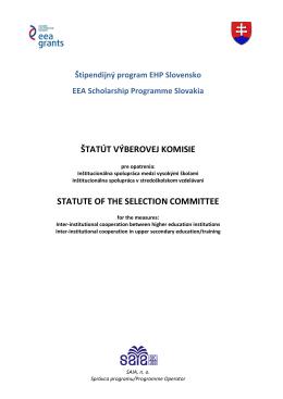 Štatút Výberovej komisie - Štipendijný program EHP Slovensko