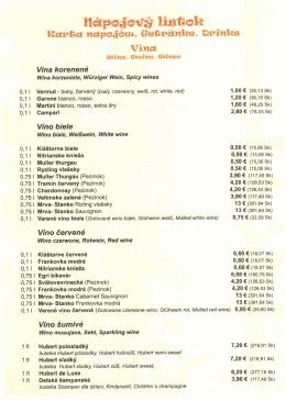 Nápojový lístok - Koliba