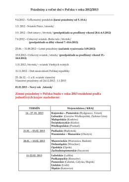 Prazdniny a volne dni v PL v roku 2012-2013