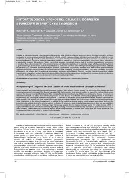 histopatologická diagnostika celiakie u dospelých s funkčným
