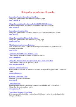 Bilingválne gymnáziá na Slovensku v šk.r. 2014-2015
