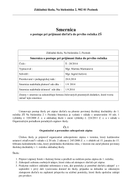 Smernica Š - 20/2014 o postupe pri prijímaní