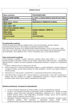 Programovanie - Gymnázium Andreja Sládkoviča Krupina