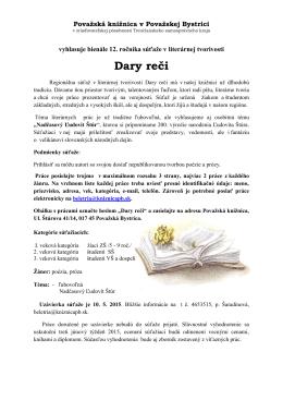 Propozície dary reci.pdf - Považská knižnica v Považskej Bystrici
