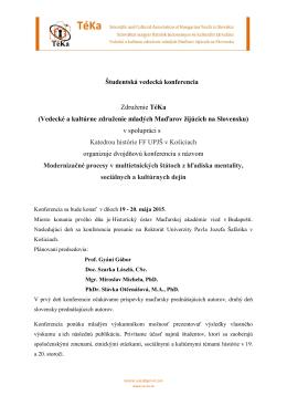 Študentská vedecká konferencia Združenie TéKa (Vedecké a