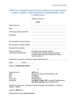 Zmluva o poskytovaní dát pre výkon činností správy a
