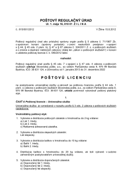 Poštová licencia č. 815/001/2012