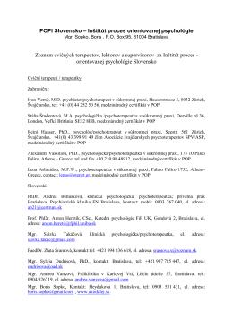 POPI Slovensko – Inštitút proces orientovanej psychológie Zoznam