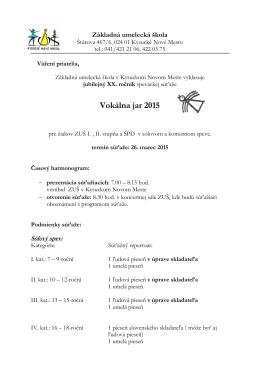 Vokálna jar 2015 - Základná umelecká škola v Kysuckom Novom