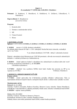 Zasadnutie VV SZMG dňa 14.04.2014