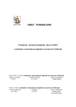 VZN č.2-2013 o nakladaní s KOx