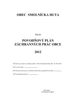 Stiahnite si povodňový plán obce Smolnícka Huta