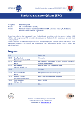 Program - Horizont 2020 - Centrum vedecko