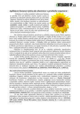 Aplikácie listovej výživy do slnečnice v priebehu