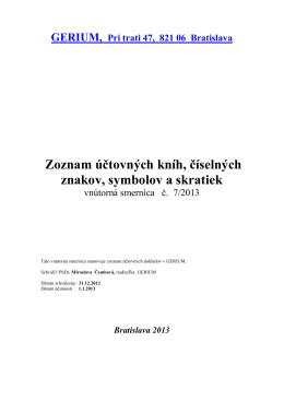 Zoznam účtovných kníh, číselných znakov, symbolov a