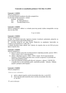 Uznesenie zo zasadnutia poslancov OcZ dňa 11.4.2014