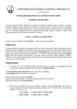 PRIJÍMANIE ŽIAKOV - Gymnázium Jána Papánka