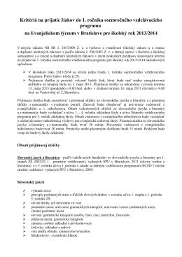 Kritériá na prijatie žiakov do 1. ročníka osemročného vzdelávacieho