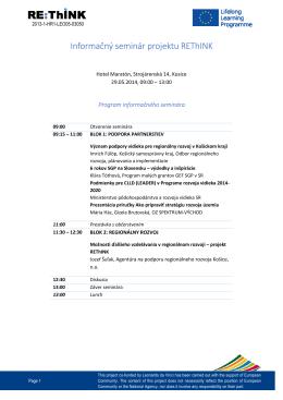 Informačný seminár projektu REThINK