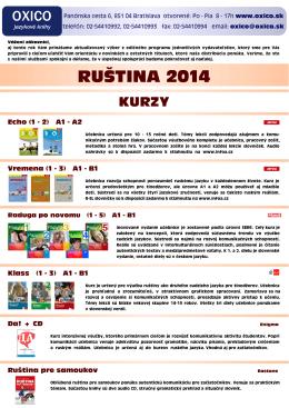 Ruština - Ponuka 2014