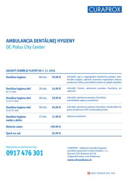 AMBULANCIA DENTÁLNEJ HYGIENY OC Polus City