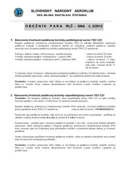 Obežník RLČ PARA č. 2/2012 - Slovenský národný aeroklub