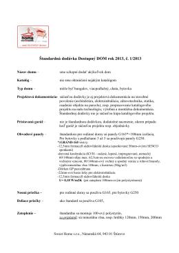 Štandardná dodávka Dostupný DOM rok 2013, č. 1/2013
