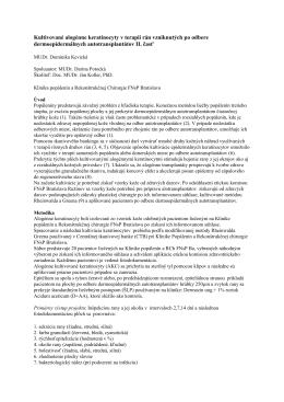 26. Kultivované alogénne keratinocyty v terapii rán
