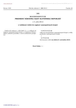 Rozhodnutie predsedu Národnej rady Slovenskej republiky