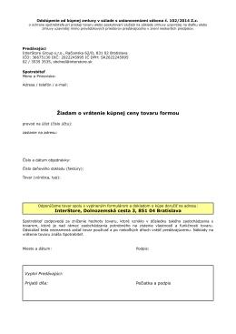 tento formulár - InterStore.sk