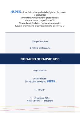 1. cirkulár - Konferencia PRIEMYSELNÉ EMISIE 2013 - ASPEK-u