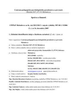 Správa o činnosti CPPPaP Michalovce za šk. rok 2012/2013