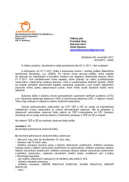 Odpoveď ŽS SK - Veľký Slavkov