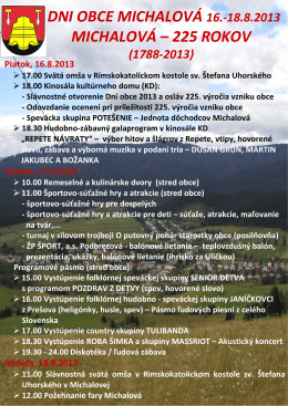 Celý program osláv dni obce Michalová nájdete TU