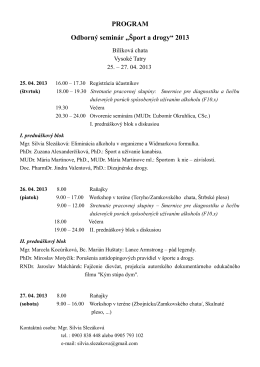 """PROGRAM Odborný seminár """"Šport a drogy"""" 2013"""