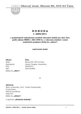 Dohoda A002 2011