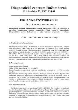 Organizačný poriadok DgC - Diagnostické centrum Ružomberok