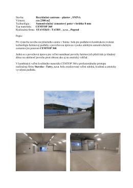 6-2013 Obalové centrum , Snina výmera cca 2300 m2