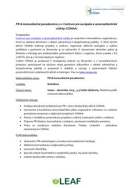 PR & komunikačné poradenstvo pre Centrum pre európske a