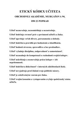 ETICKÝ KÓDEX UČITEĽA - Obchodná akadémia Poprad