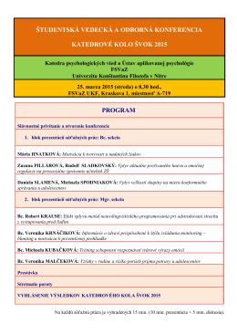 program - Katedra psychologických vied