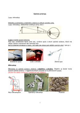 1 Optické prístroje. Lupa, mikroskop Dôležitou podmienkou